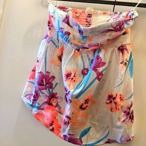 Roxy Neon Pink Floral Print Strapless Top